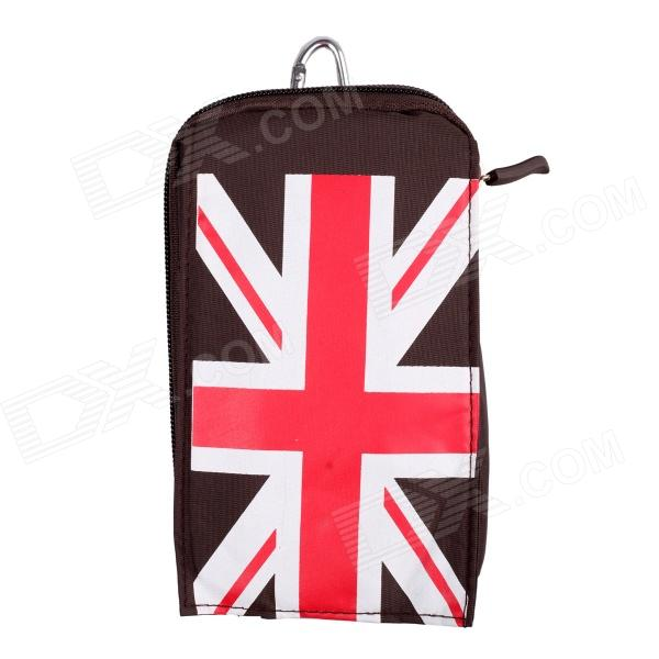 Anti-water Silk Fabric Creative Waist Bag with UK Flag Design - Brown