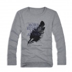 Round Neck Long-sleeve Printing Feathers T-shirt - Gray (L)