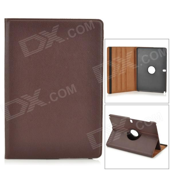Stylish Flip-open PU Case w/ 360' Rotating Back for Samsung Galaxy Note 12.2 P900 - Brown stylish flower pattern flip open pu leather case w holder 360 rotating back for ipad 2 3 4