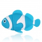 Cute Cartoon Fish Style USB 2.0 Flash Drive Disk - Blue + White (4GB)