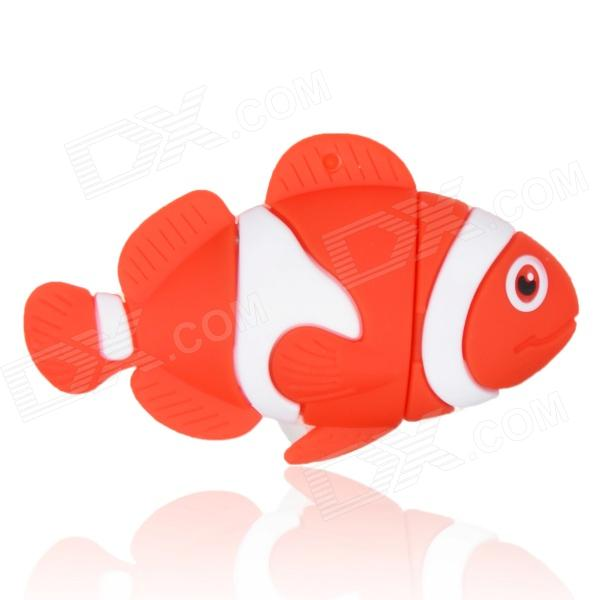 Cute Cartoon Fish Style USB 2.0 Flash Drive Disk - Red + White (8GB)