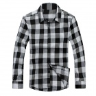 Men's Long-sleeved Plaid Shirt - Black + White (XL)