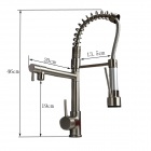 YDL-F-0538 Polished Nickel Finish Solid Brass Spring Pull out Kitchen Faucet - Antique Silvery