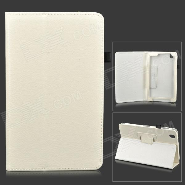 Flip-open PU Leather Case w/ Holder + Pen Space for Samsung Galaxy Tab Pro 8.4 T320 - White protective pu leather flip open stand case w stylus for samsung galaxy tab pro 8 4 t320 white