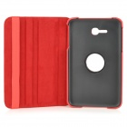 IKKI Flip-open PU Case w/ 360' Rotating Back for Samsung Galaxy Tab 3 Lite T110 - Red