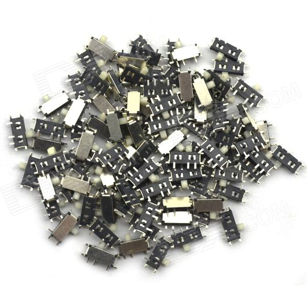 BONATECH DIY MP3 Toggle Switch / MK12C02 Micro Switch - Silver + Black (100PCS) 100pcs v 156 1c25 long hinge roller lever ac dc micro switch