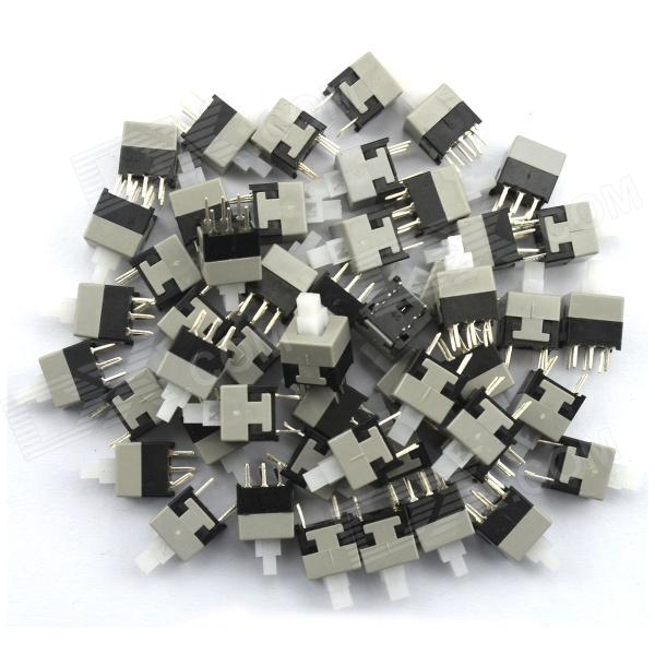 MaiTech 8.5 x 8.5mm 6-pin Self-locking Switch / Key Switch - Black + Gray (50 PCS)