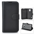 Stylish Flip-open PU Case w/ Holder + Card Slot for Samsung Galaxy S5 - Black