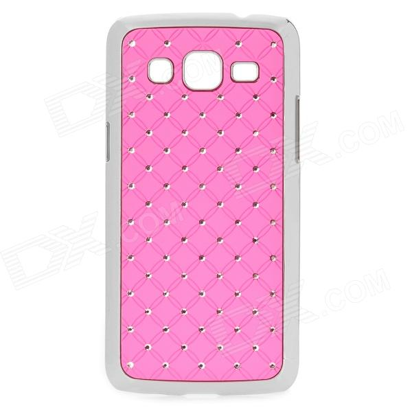 Stylish Protective Rhinestone ABS Back Case for Samsung G3812 - Pink + Silver