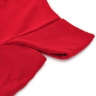 LJ-T02 Round Neck Off-The-Shoulder Cotton Long Sleeves T-shirt - Red