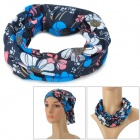 Outdoor Multi-Function Flowers Pattern Polyester Seamless Head Scarf - Black + Blue