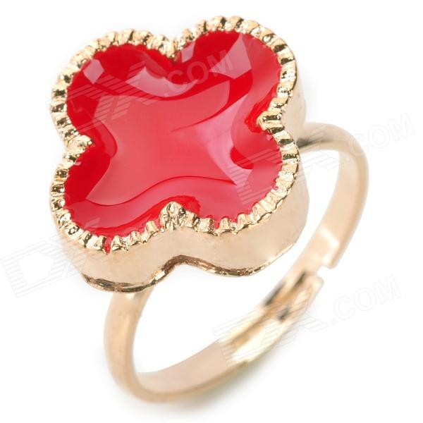 Four-leaf Clover Style Finger Ring - Red + Golden (U.S 8)
