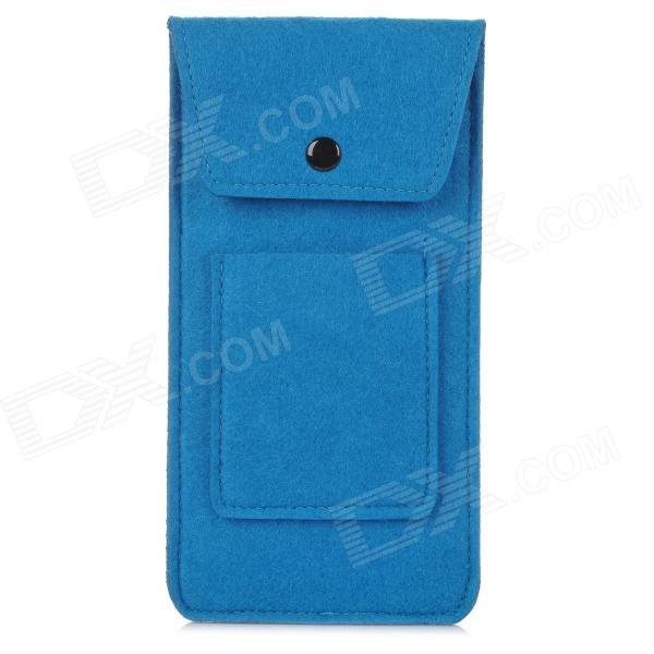 BL-407 Stylish Plush Pouch Bag for Cell Phone / Power Bank / Cards / Earphones - Dark Blue trendy pu leather pouch bag for cell phone gadgets black