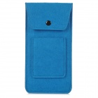 BL-407 Stylish Plush Pouch Bag for Cell Phone / Power Bank / Cards / Earphones - Dark Blue