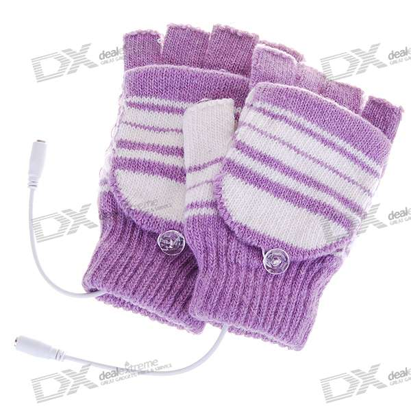 USB Heated Warm Gloves for Ladies - Purple + White (Pair)