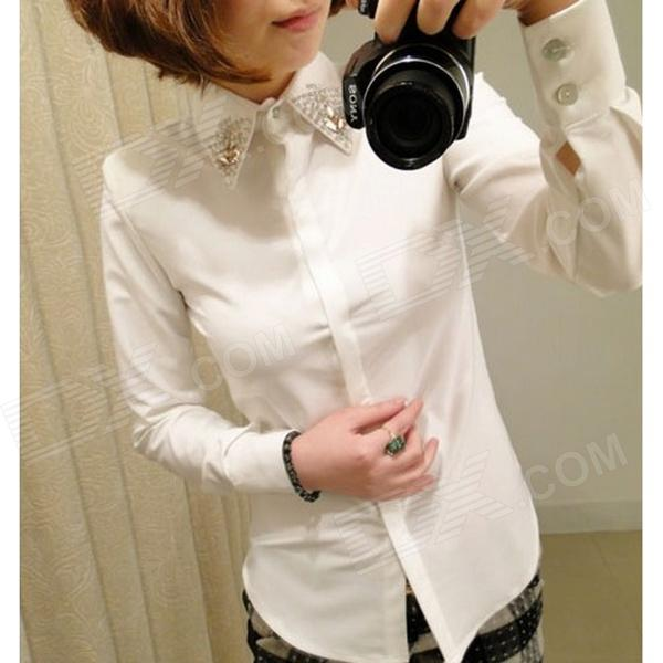 Diamond Collar Long Sleeves Chiffon Shirt - White
