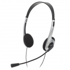 Weile WL-010MV 3.5mm Jack Wired Headset w/ Microphone for Laptop - Black + Silver