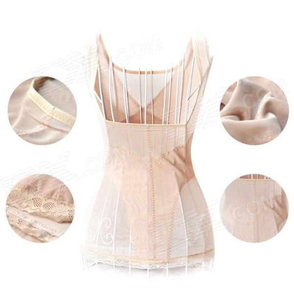 High Elastic Slim Beautiful Body Vest - Beige + White (L)