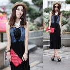 High-waisted Splicing Denim Cotton Condole Belt Dress - Black + Blue (L)