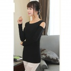 LJ-T01 Round Collar Off-The-Shoulder Long Sleeves T-Shirt - Black