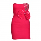 Strapless Bowknot Rhinestone One-piece Dress - Deep Pink (L)