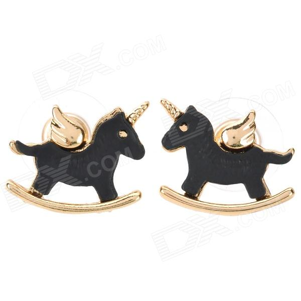 Black Horse Style Zinc Alloy Earrings (Pair) fashionable flower shaped zinc alloy earrings for women golden black multi colored pair