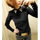 Diamond Collar Long Sleeves Chiffon Shirt - Black