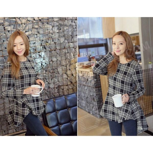 Check Pattern Cotton Blouse - Black + Grey White (L)