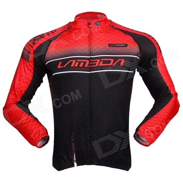 LAMBDA Cycling Mens Sleeve-Removable Polyester Clothes Jacket - Black + Red (Size XL) - DXCycle Clothing<br>100% polyester fabric wicking and breathable; Full-open zipper back of waist part with three pockets to place water bottle and small gadgets; Short-front and long-back design more convenient while riding; Multi-functional sleeve-removable design freely choose the better wearing style according the weather.<br>