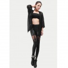 Artificial Leather Splicing Lace Bandage Leggings - Black