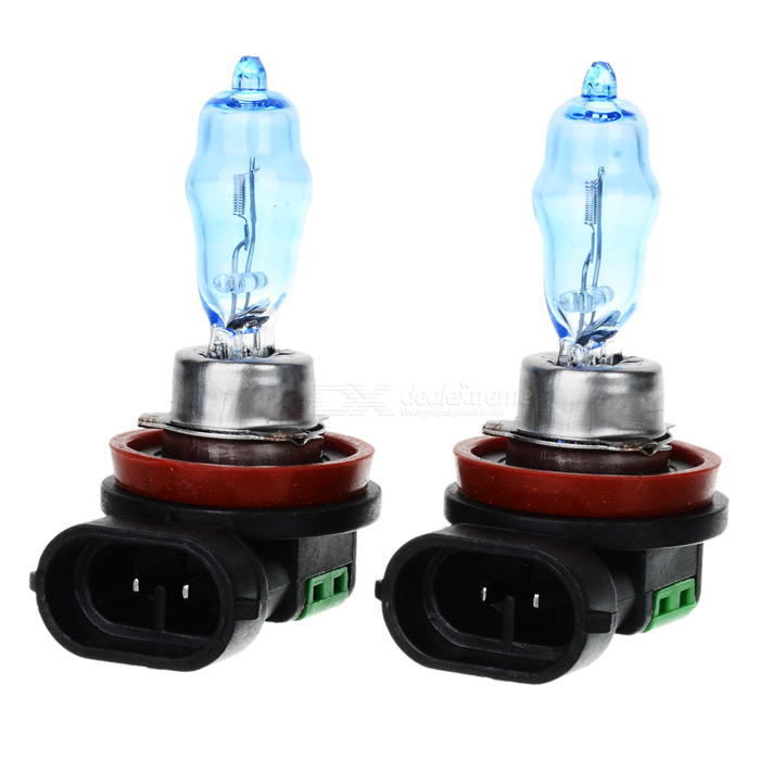 H11 100W White Car Light Bulbs (2-Pack/DV 12V)