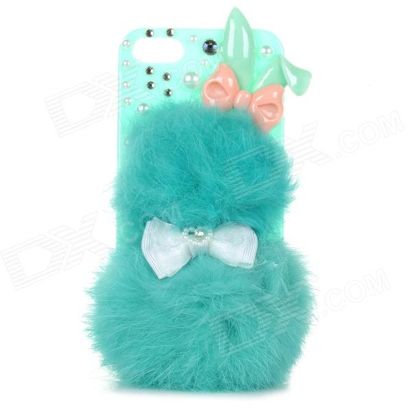 Rabbit Ears Style Protective Fur + Plastic Back Case for IPHONE 5 / 5S - Green + Pink ipega i5056 waterproof protective case for iphone 5 5s 5c pink