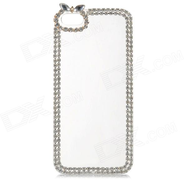 Stylish Rhinestone + Plastic Protective Back Case for IPHONE 5 / 5S - Transparent + Silver protective alloy horse decoration rhinestone studded back case for iphone 5 white transparent