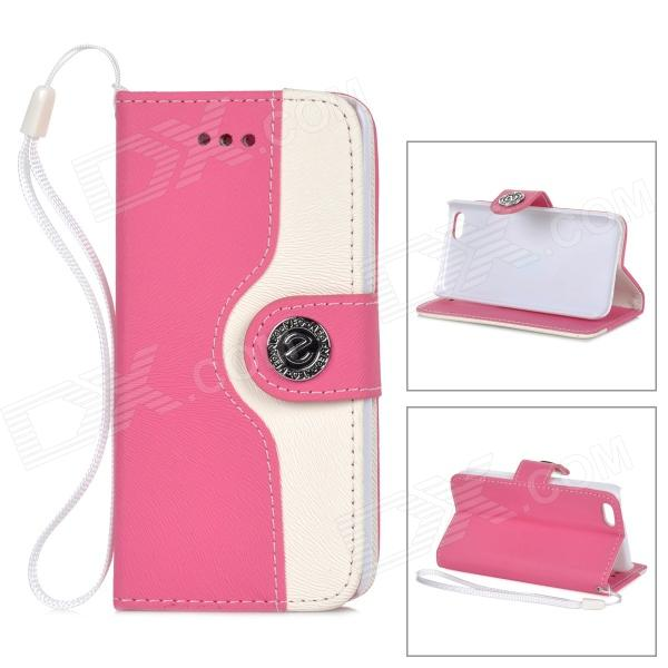 Stylish Protective PU Leather + Plastic Case w/ Hand Strap for IPHONE 5C - Deep Pink + White
