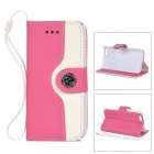 Stylish Protective PU Leather + caja de plástico w / correa de mano para IPHONE 5C - Deep rosa + blanco