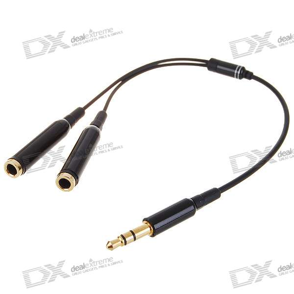 Gold Plated 3.5mm Male to Dual Female Audio Split Adapter
