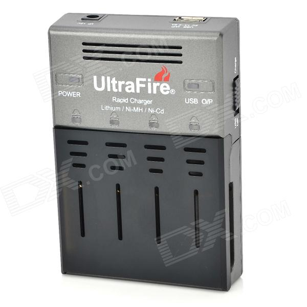 UltraFire WF-128S Universal 4-18650 / AA / AAA / 16340 Battery Charger - Grey