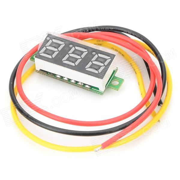 Jiahui DIY 0.28 3-Digit LED Digital Voltmeter Module - Black + Green + White (4~30V) 0 36 3 digit blue light 7 segment voltmeter module black green 3 2 30v