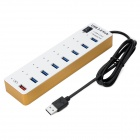 BYL-3012 haute vitesse 8 ports USB HUB d'USB 3.0 w / commutateur / indicateur