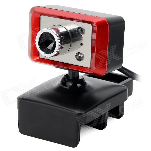 S-What USB 2.0 HD 8.0MP PC Camera w/ Microphone - Black + Red