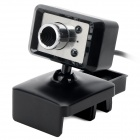 S-What USB 2.0 Wired HD PC 8.0MP Camera w/ Mic - Black + Silver