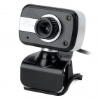 S-What Wired USB 2.0 HD 8.0MP PC Camera w/ Microphone - Black + Silver