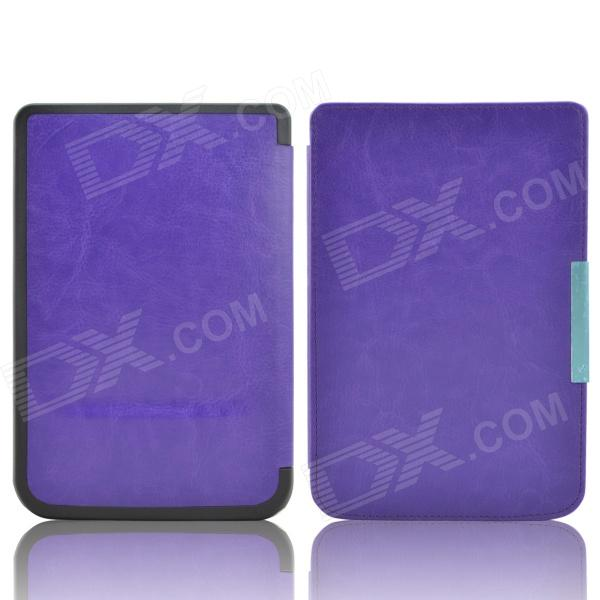 Protective PU Leather Flip Case Cover for Pocketbook Touch 624 - Purple high quality faux leather stand cover case for pocketbook touch 622 623 624 626 ebook ereader