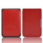 Protective PU Leather Flip Case Cover for Pocketbook Touch 624 - Red