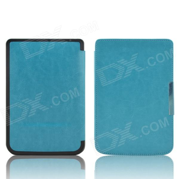 Protective PU Leather Flip Case Cover for Pocketbook Touch 624 - Sky Blue