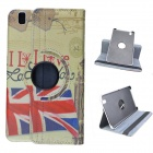 London Style 360 Degree Rotation PU Leather Case Stand for Samsung Galaxy Tab T320 8.4 -Light Yellow