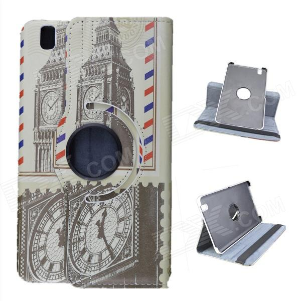 Clock Tower Pattern 360 graders rotasjon PU Leather Case stativ for Samsung Galaxy Tab T320 8.4 - Grå