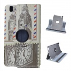 Clock Tower Pattern 360 Degree Rotation PU Leather Case Stand for Samsung Galaxy Tab T320 8.4 - Grey