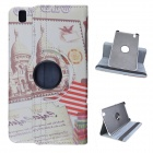 USA Style 360 Degree Rotation PU Leather Case Stand for Samsung Galaxy Tab T320 8.4 - White + Red