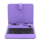 "Glyby USB 80-key Keyboard PU Leather Case Stand for Android 7"" Tablet PC - Purple"